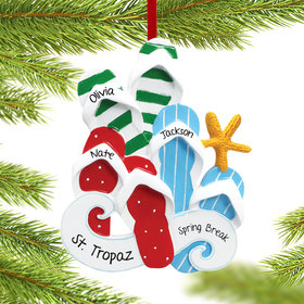 Personalized Flip Flops Family of 3 Christmas Ornament