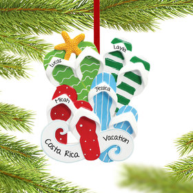 Personalized Flip Flops Family of 4 Christmas Ornament