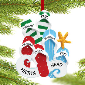 Personalized Flip Flops Family of 6 Christmas Ornament