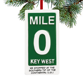 Personalized Mile Marker 0 Key West Christmas Ornament