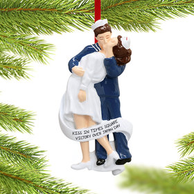 Personalized V-J Day Kiss in Times Square Christmas Ornament