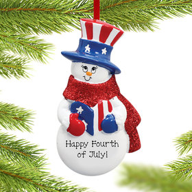 Personalized Uncle Sam Patriotic Snowman Christmas Ornament