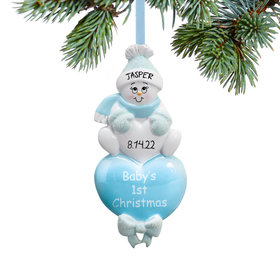 Personalized Baby Boy's 1st Christmas Blue Snowman Christmas Ornament