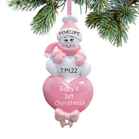 Personalized Baby Girl's 1st Christmas Pink Snowman Christmas Ornament