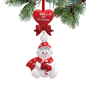 Personalized Baby's 1st Christmas Red Snowbaby with Candy Cane Christmas Ornament
