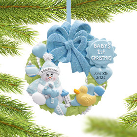 Personalized Baby Wreath Boy For Baby's 1st Christmas Christmas Ornament