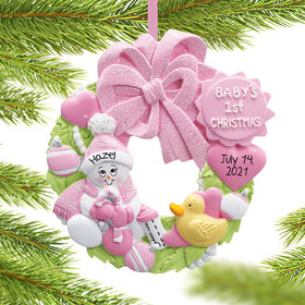 Personalized Baby Wreath Girl For Baby's First Christmas Ornament