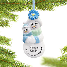 Personalized Grandma's First Christmas (Baby Boy) Christmas Ornament