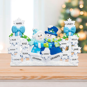Personalized Snowflake Gate with 13 Snowflakes (Blue) Christmas Ornament