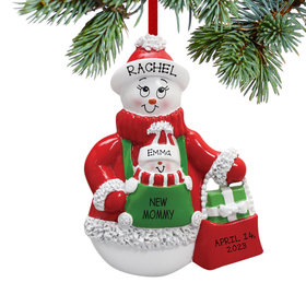 Personalized New Mommy Snowman with Baby Snowman Christmas Ornament