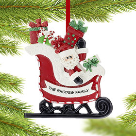 Personalized Santa in Sleigh Christmas Ornament
