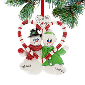 Personalized Snow in Love Couple Christmas Ornament