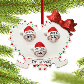 Personalized Heart Family of 3 Christmas Ornament