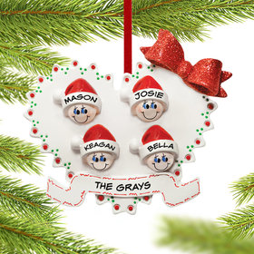 Personalized Heart Family of 4 Christmas Ornament