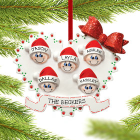 Personalized Heart Family of 5 Christmas Ornament