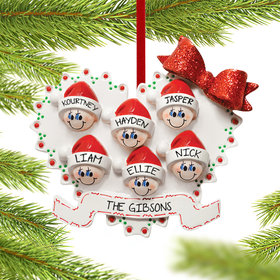 Personalized Heart Family of 6 Christmas Ornament