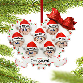 Personalized Heart Family of 7 Christmas Ornament