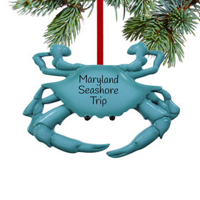 Personalized Blue Crab Christmas Ornament