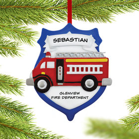 Personalized Fireman Shield Christmas Ornament