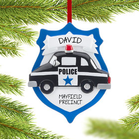 Personalized Policeman Shield Christmas Ornament