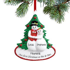 Personalized Our First Christmas as Mr & Mrs Snow Couple Christmas Ornament