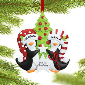 Personalized Our 1st Christmas Penguin Couple Decorating the Tree Christmas Ornament
