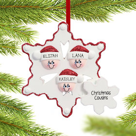 Personalized Snowflake Elves Family of 3 Christmas Ornament