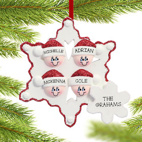 Personalized Snowflake Elves Family of 4 Christmas Ornament