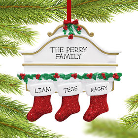 Personalized Stockings Hanging From Mantel 3 Christmas Ornament