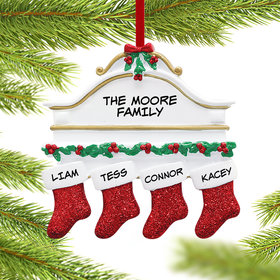 Personalized Stockings Hanging From Mantel 4 Christmas Ornament