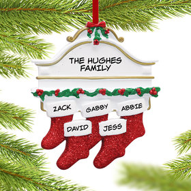 Personalized Stockings Hanging From Mantel 5 Christmas Ornament