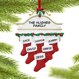 Personalized Stockings Hanging From Mantel 6 Christmas Ornament