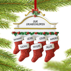Personalized Stockings Hanging From Mantel 7 Christmas Ornament