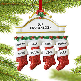 Personalized Stockings Hanging From Mantel 8 Christmas Ornament