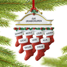 Personalized Stockings Hanging From Mantel 9 Christmas Ornament