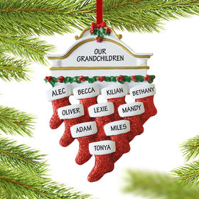 Personalized Stockings Hanging From Mantel 10 Christmas Ornament