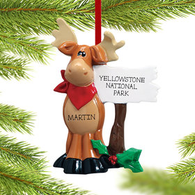 Personalized Moose Standing Next To Sign Christmas Ornament