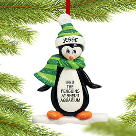 Personalized Penguin on Ice Christmas Ornament