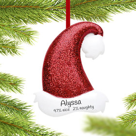 Personalized Red Glitter Santa Hat Christmas Ornament