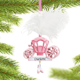Personalized Princess Carriage with Feather and Shoes Christmas Ornament