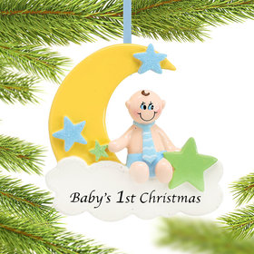 Baby's 1st Christmas Moon Boy Christmas Ornament