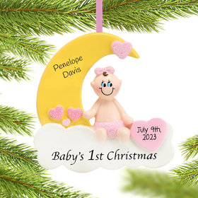 Personalized Baby's First Christmas Moon Girl Christmas Ornament