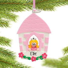 Personalized Princess in Castle Christmas Ornament