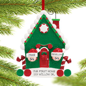 Personalized Candy Cane House Couple Christmas Ornament