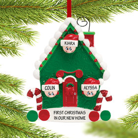 Personalized Candy Cane House Family of 3 Christmas Ornament