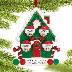 Personalized Candy Cane House Family of 4 Christmas Ornament