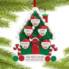 Personalized Candy Cane House Family of 5 Christmas Ornament