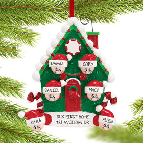 Personalized Candy Cane House Family of 6 Christmas Ornament