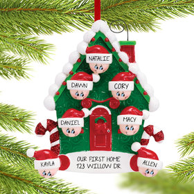Personalized Candy Cane House Family of 7 Christmas Ornament