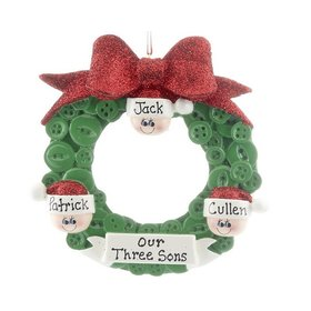 Personalized Glitter Bow Button Wreath Family 3 Christmas Ornament